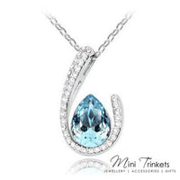 Platinum Plated Suspended Teardrop Necklace