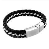 Stainless Steel Leather Braided Bracelet - Black
