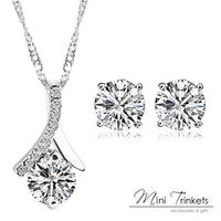 925 Silver Plated Cubic Zirconia Drop Necklace + Stud Earrings Set - Mini Trinkets