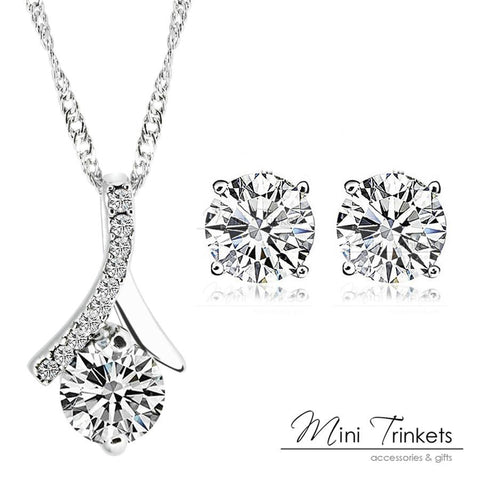 925 Silver Plated Cubic Zirconia Drop Necklace + Stud Earrings Set