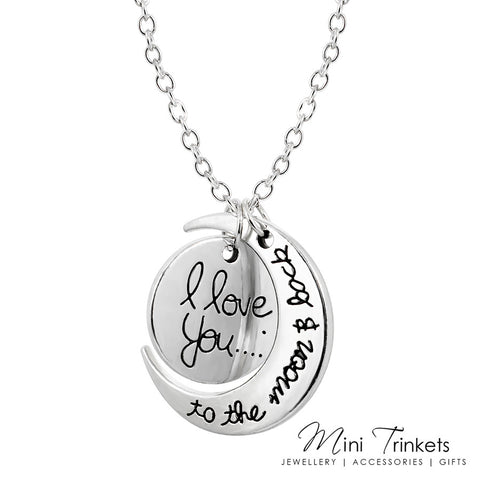 I Love You To The Moon & Back Necklace - Silver