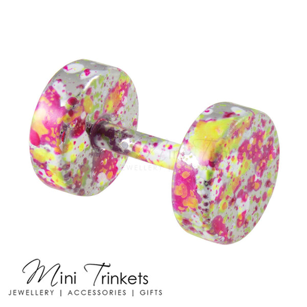 Marbled Stainless Steel Dumbbells Stud Earring