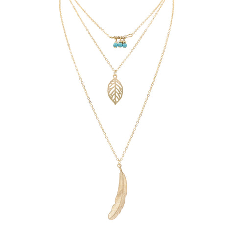 Multi-Layered Bohemian Leaf, Feather & Beads Necklace