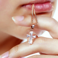 Cubic Zirconia Cross Necklace - Mini Trinkets
