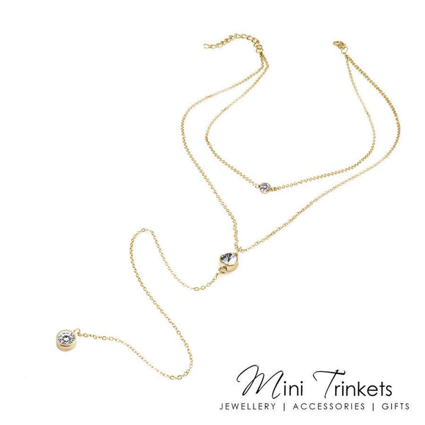Multi Layered Solitaire Cubic Zirconia Lariat Necklace - Mini Trinkets