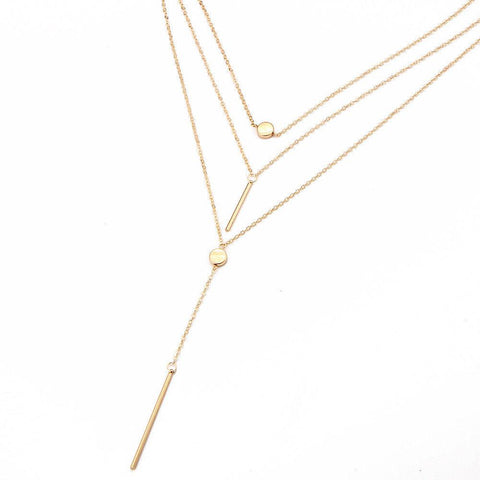 Multi Layered Bar & Circle Lariat Necklace