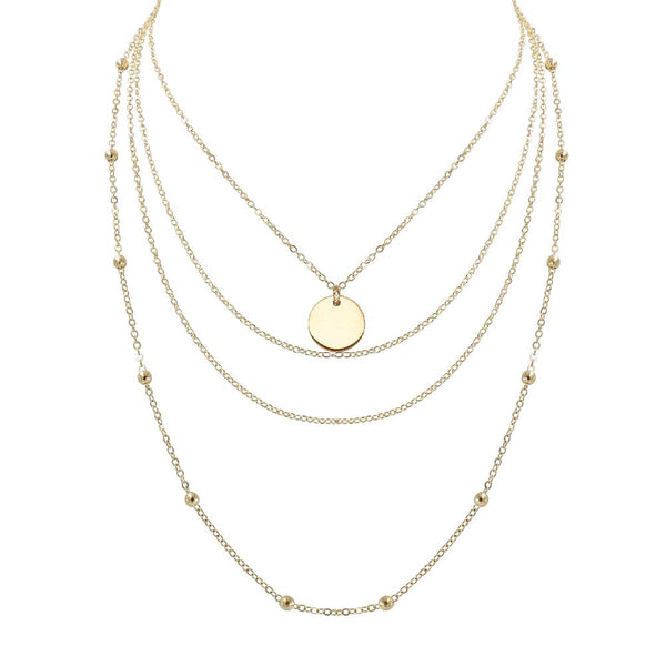 Gold Multi Layered Disk 2 in 1 Necklace - Mini Trinkets