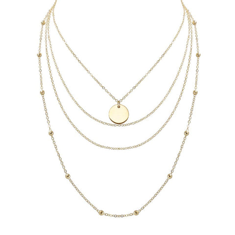 Gold Multi Layered Disk 2 in 1 Necklace