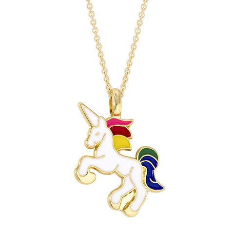 Gold Plated Enamelled Unicorn Necklace