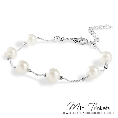 Silver Plated Pearl Chain Bracelet