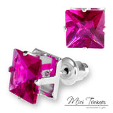Large Crystal Rhinestone Square Stud Earrings