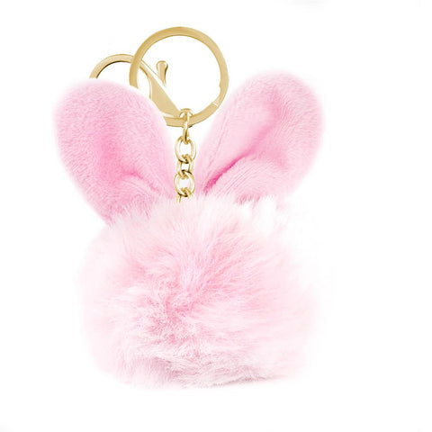 Faux Fur Rabbit pom Pom Bag Charm / Keyring