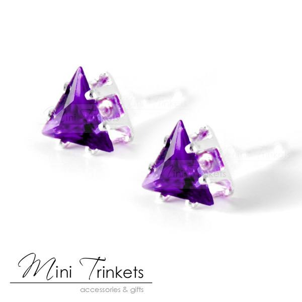Crystal Rhinestone Triangle Stud Earrings - Mini Trinkets