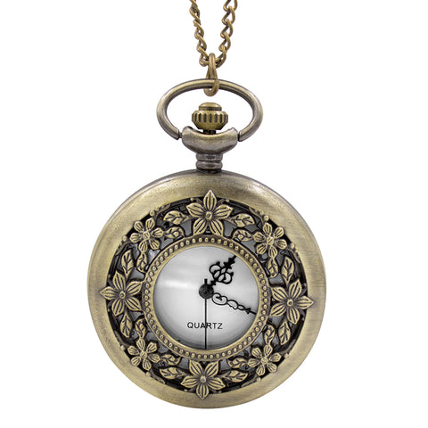 Floral Pocket Watch Necklace - Antique Gold