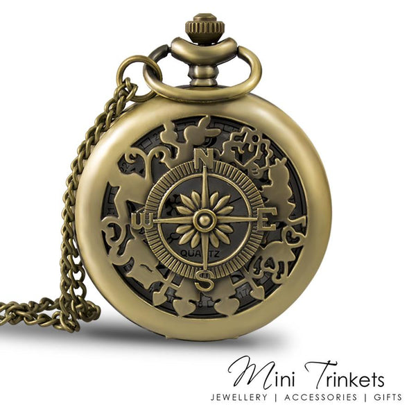 Compass Pocket Watch - Antique Gold