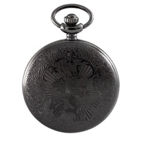 Gunmetal Black Golden Dial Pocket Watch & Chain