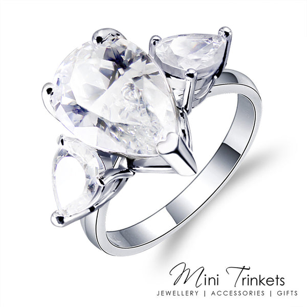 Silver Plated Cubic Zirconia Triple Pear Ring