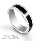 Polished Stainless Steel Ring With Black Band