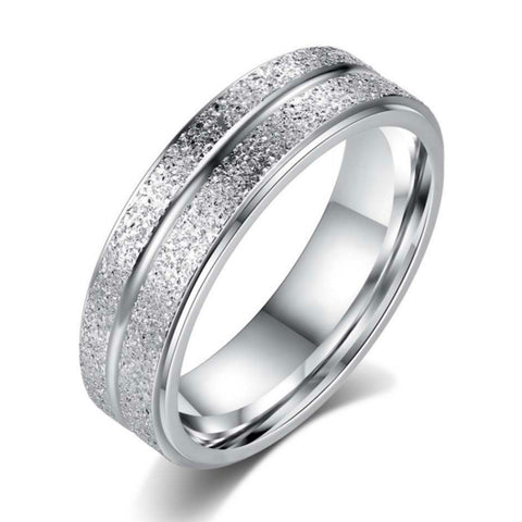 Platinum Plated Stainless Steel Double Frosted Ring