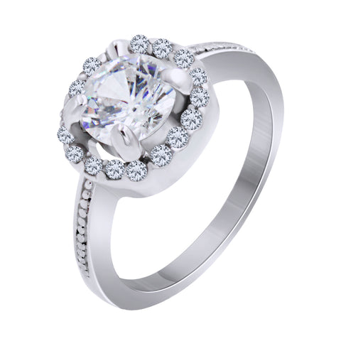 Silver Plated Cubic Zirconia Solitaire Halo Ring