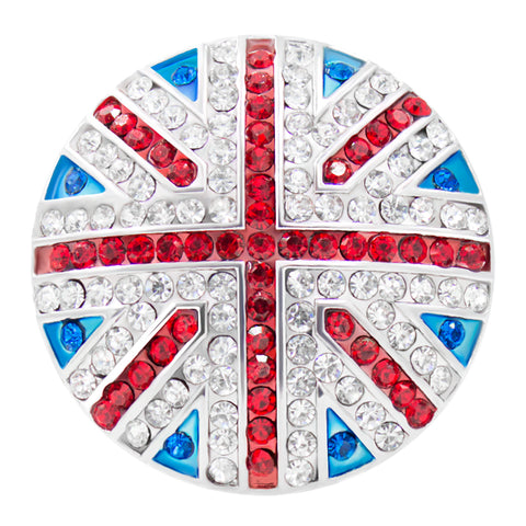 Silver Plated Austrian Crystal Union Jack Cocktail Ring