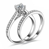 Silver Plated Cubic Zirconia Solitaire Paired Stacked Ring
