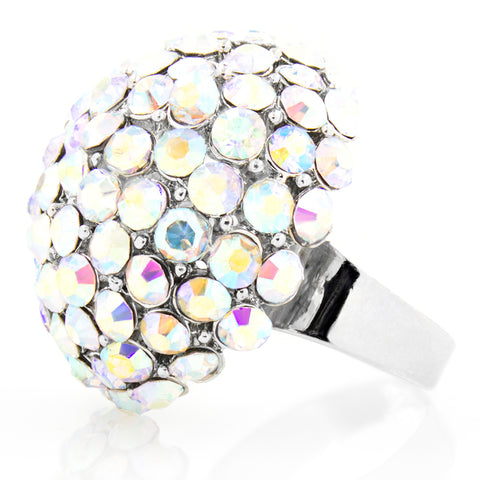 Silver Plated Austrian Crystal Dome Cocktail Ring