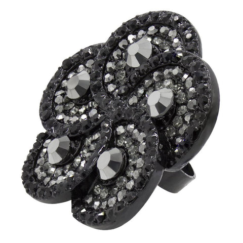 Black Flower Austrian Crystal Cocktail Ring