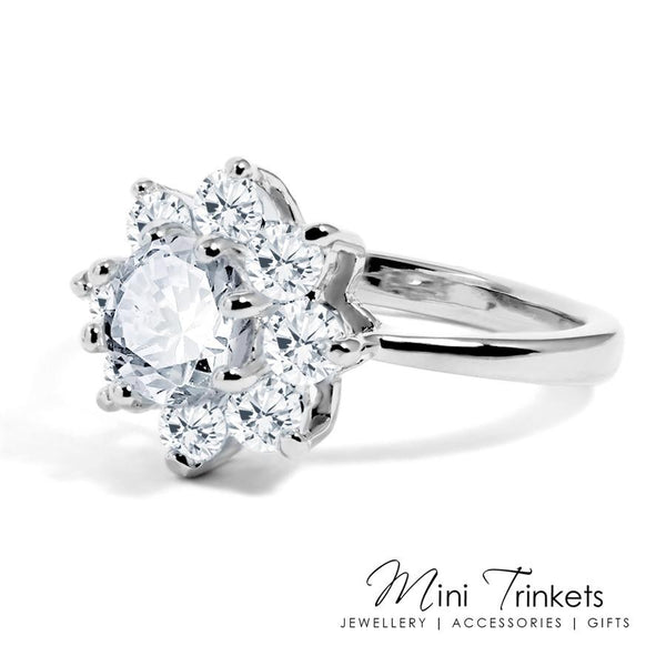 Cubic Zirconia Flower Solitaire Ring