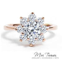 Cubic Zirconia Flower Solitaire Ring - Mini Trinkets