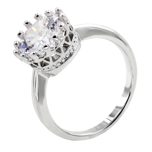 Silver Plated Cubic Zirconia Solitaire Crown Ring