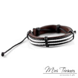 Handmade Leather Braided Surfer Bracelet - F