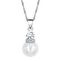 Silver Plated Simulated Pearl With Cubic Zirconia Necklace & Earring Set