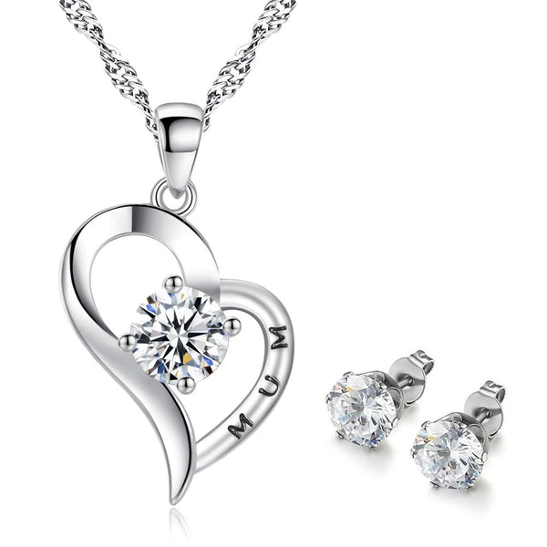 925 Silver Plated Cubic Zirconia Mum Heart Necklace + Stud Earrings Set - Mini Trinkets