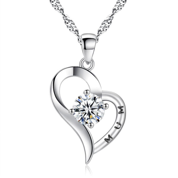 925 Silver Plated Cubic Zirconia Mum Heart Necklace - Mini Trinkets