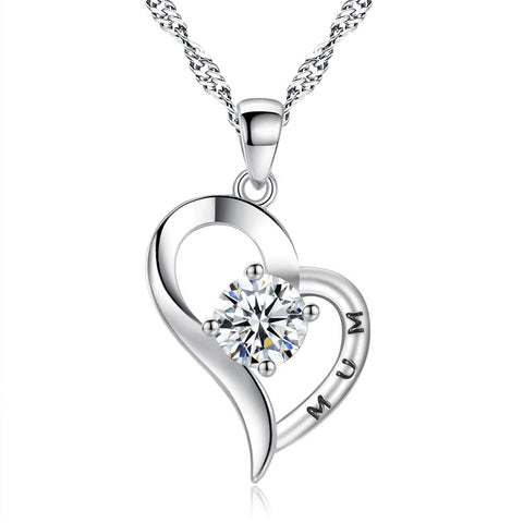 925 Silver Plated Cubic Zirconia Mum Heart Necklace