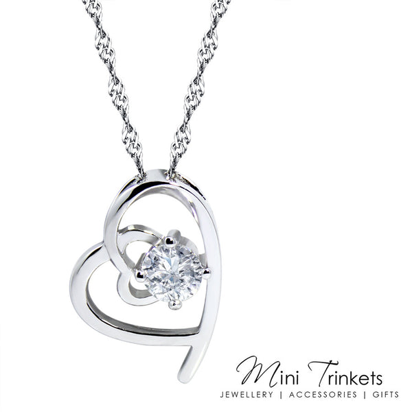 Platinum Plated Cubic Zirconia Solitaire Heart Necklace & 925 Sterling Silver Earring Set