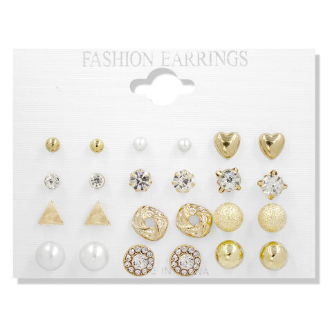 12 Pairs Assorted Stud Earrings