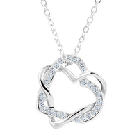 Entwined Double Heart Cubic Zirconia Necklace & Earring Set