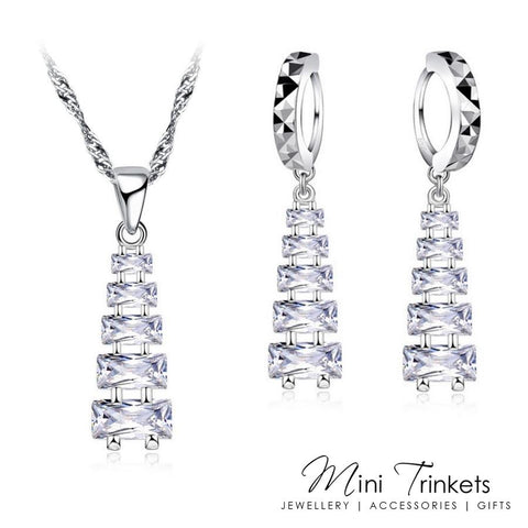 925 Silver Cubic Zirconia Cascading Pyramid Necklace & Earring Set
