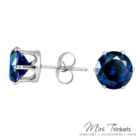 Platinum Plated Cubic Zirconia Stud Earrings