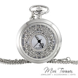 Silver Toned Filigree Pocket Watch Necklace