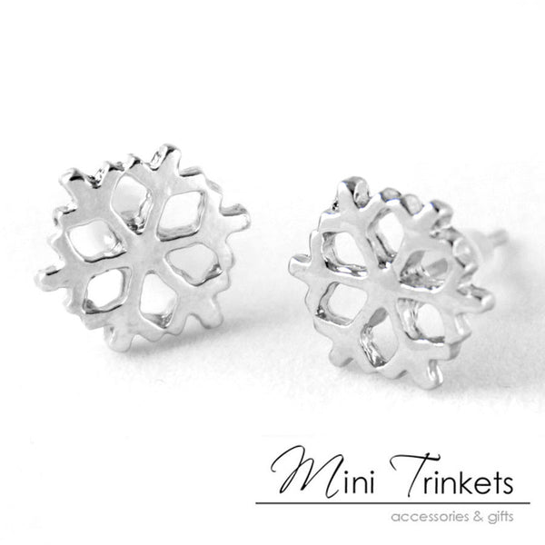 Small Silver Plated Snowflake Stud Earrings