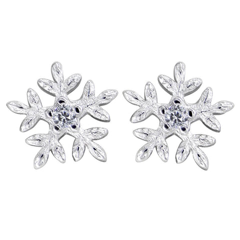 925 Sterling Silver Solitaire Cubic Zirconia Snowflake Stud Earrings