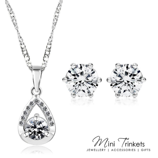 925 Sterling Silver Cubic Zirconia Solitaire Tear Drop Necklace & Earring Set - Mini Trinkets