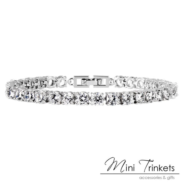 925 Silver Plated Solitaire Crystal Tennis Bracelet