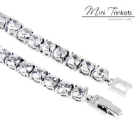 925 Silver Plated Solitaire Crystal Tennis Bracelet - Mini Trinkets