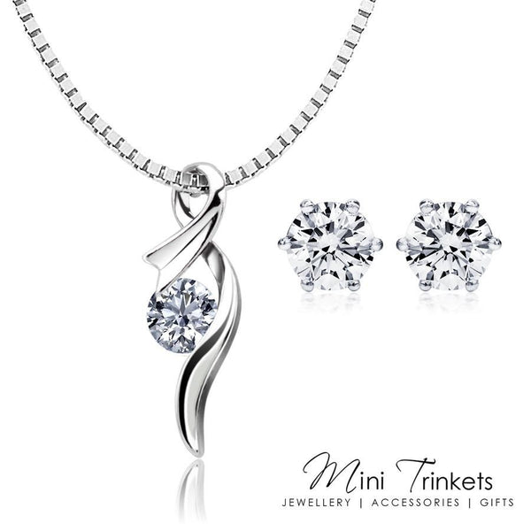 925 Sterling Silver Cubic Zirconia CrystalNecklace + Stud Earrings Set - Mini Trinkets