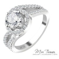 925 Sterling Silver Cubic Zirconia Solitaire Twist Ring - Mini Trinkets