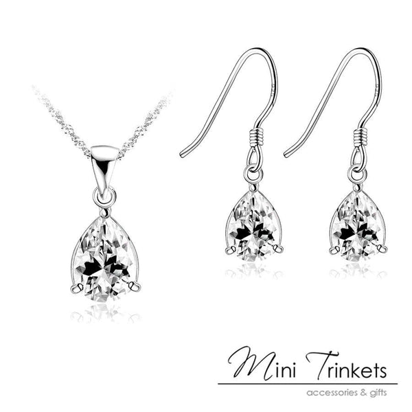 925 Sterling Silver Cubic Zirconia Tear Drop Necklace + Stud Earrings Set - Mini Trinkets